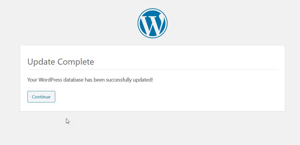 wordpress update completed