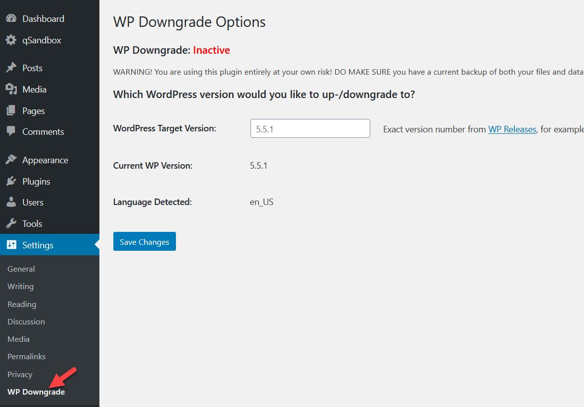 wp downgrade settings