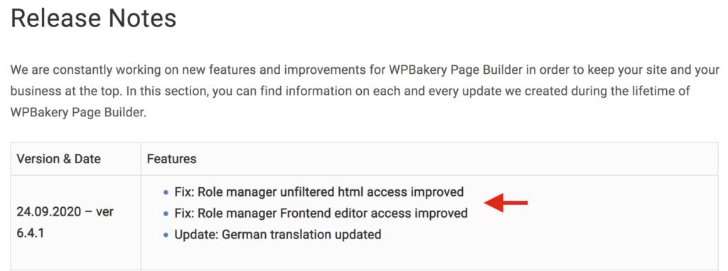 WPBakery vulnerability - Changelog
