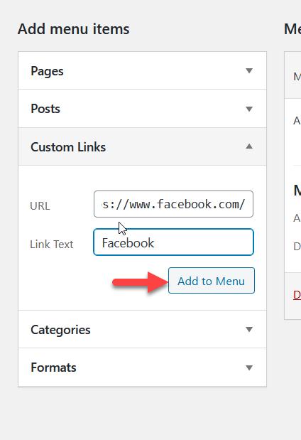 add facebook link to menu
