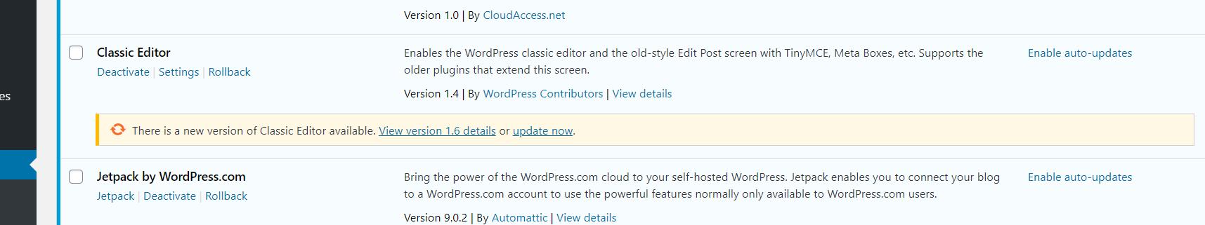 classic editor downgraded