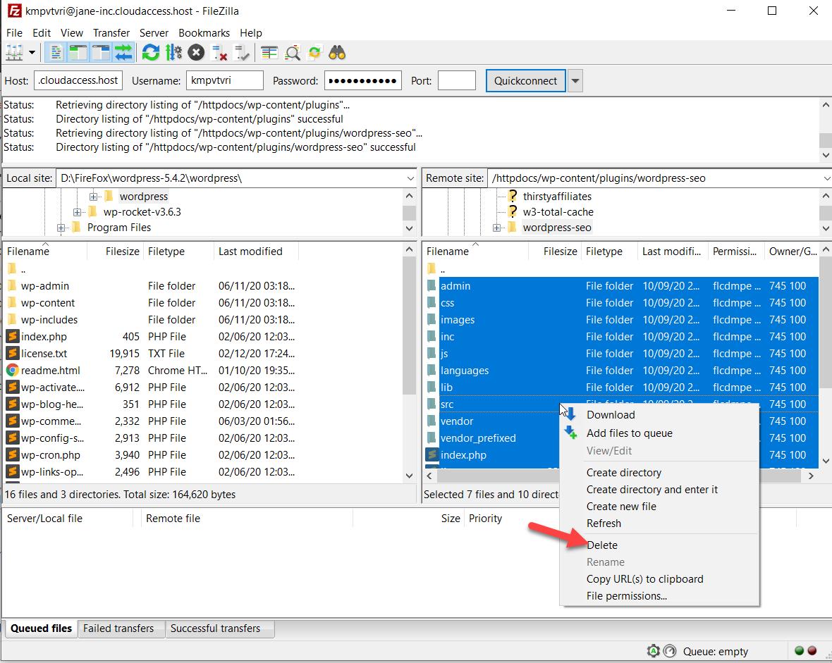 delete yoast plugin folder