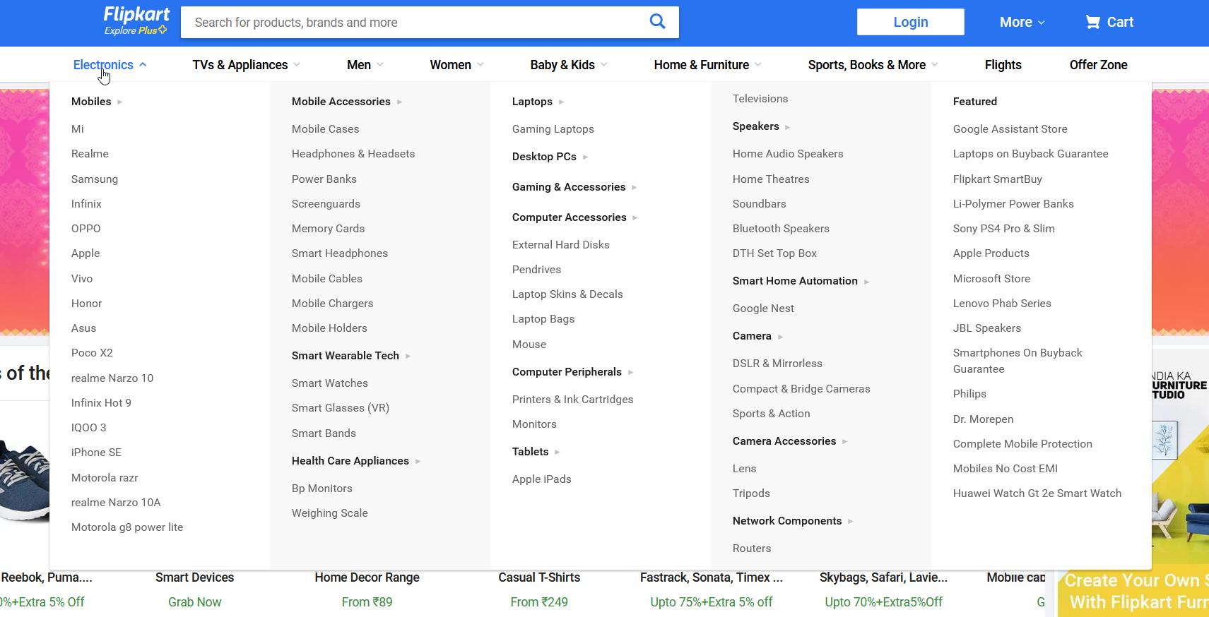 Flipkart.com menu