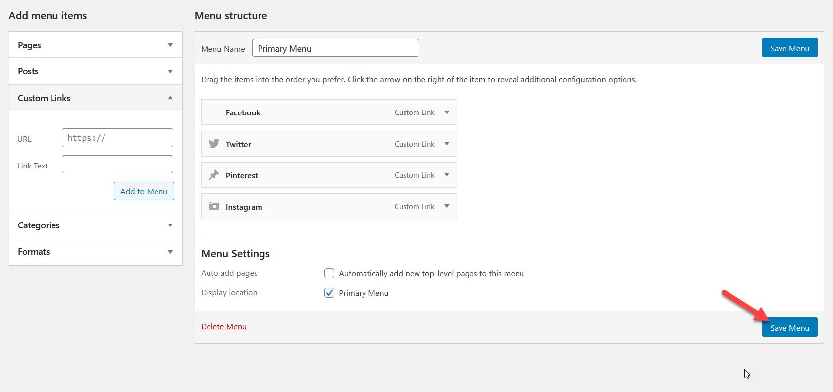 Add Social Media Icons to WordPress Menu - WP menu icons Save menu