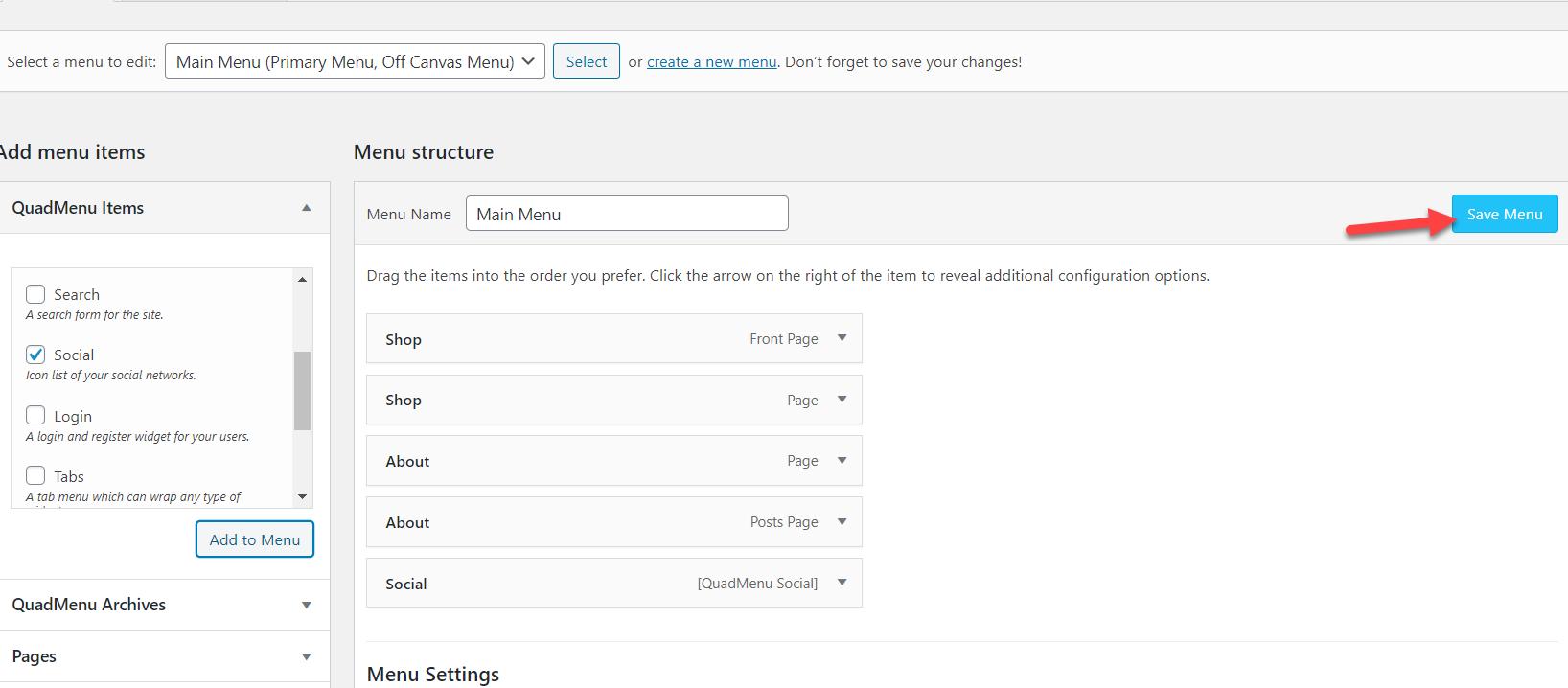 Add Social Media Icons to WordPress Menu - Save wordpress menu