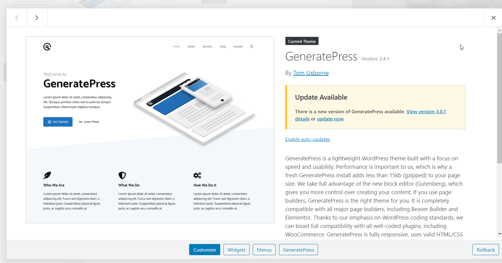How to Downgrade Plugins and Themes in WordPress - GeneratePress downgraded