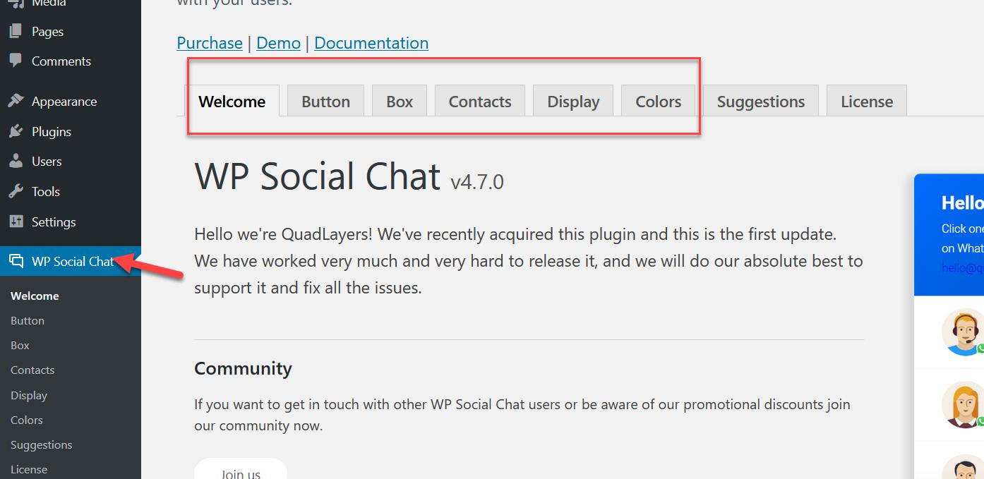 wp chat plugin settings