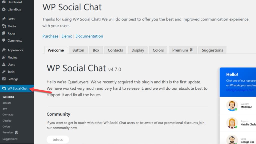 wp social chat settings