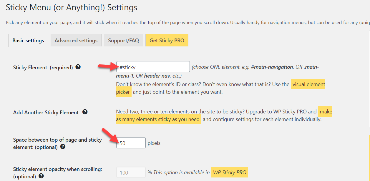 sticky menu basic settings
