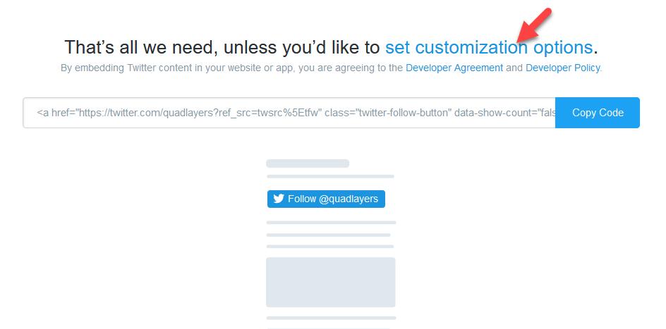 twitter follow button customization