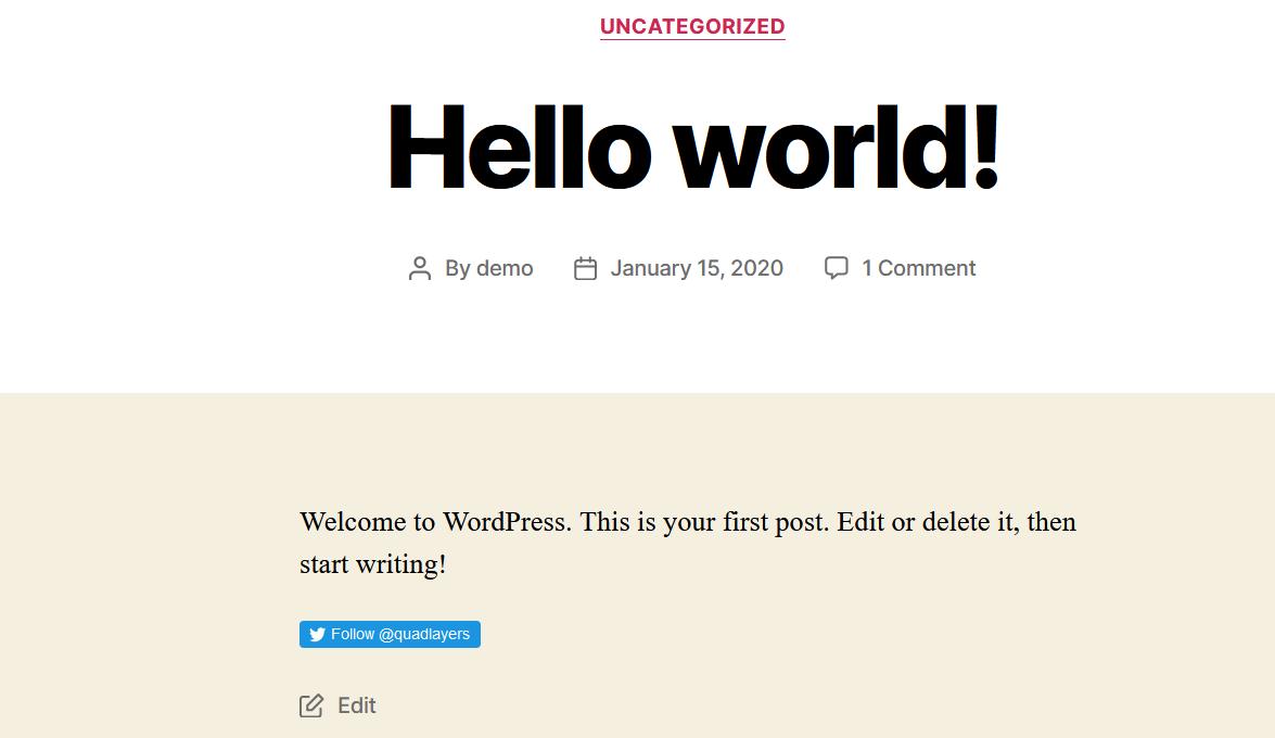 classic editor follow button