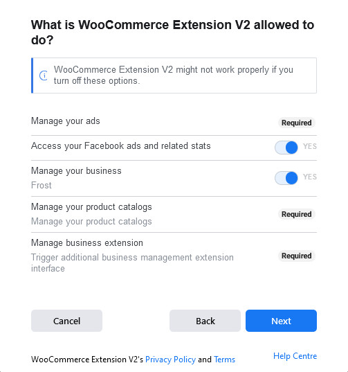 connect woocommerce to instagram - plugin permissions