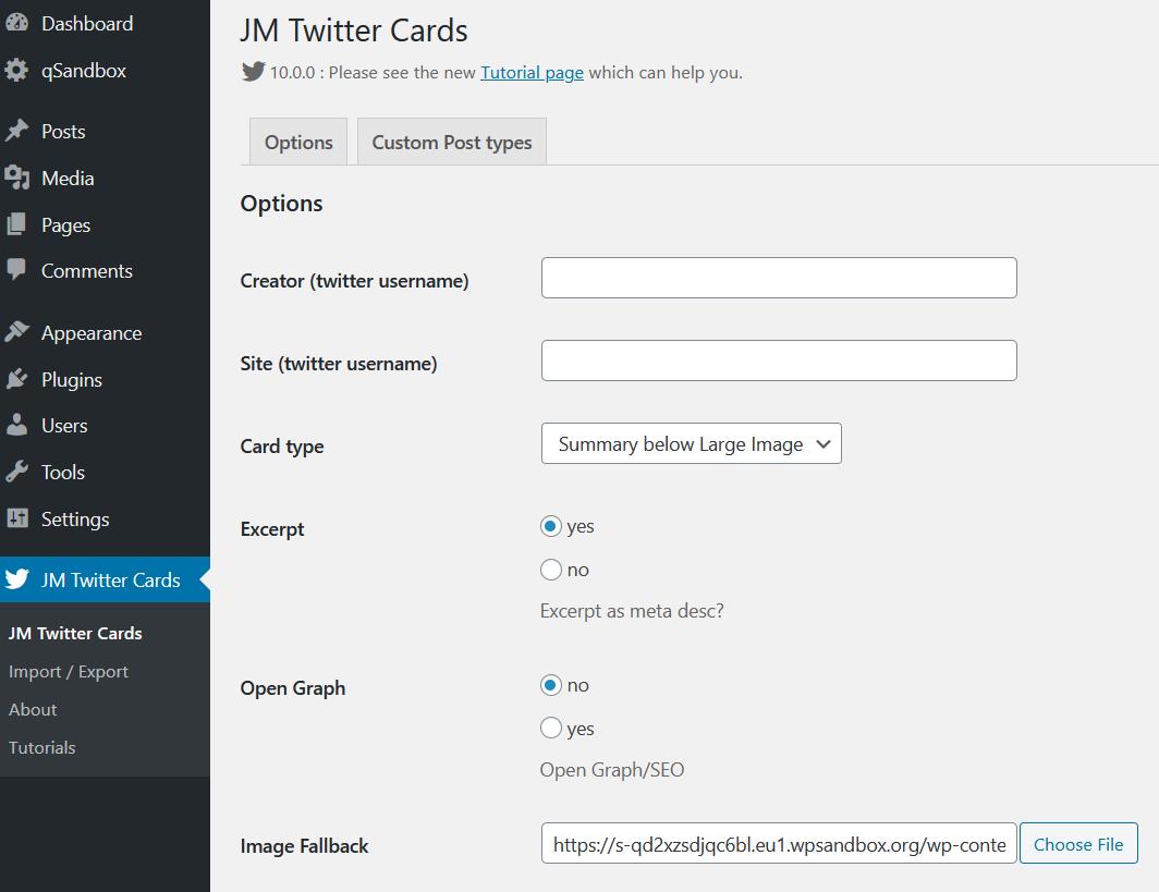 jm twitter cards plugin settings
