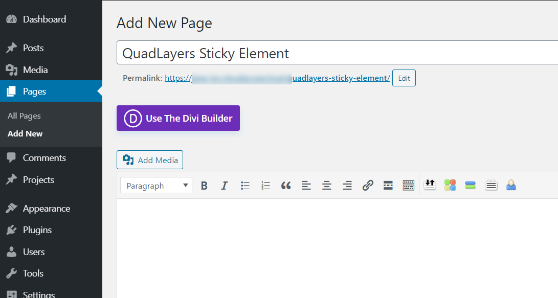 make any divi element sticky - new page created