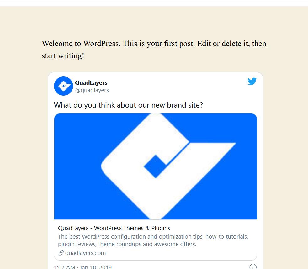 tweet in website frontend