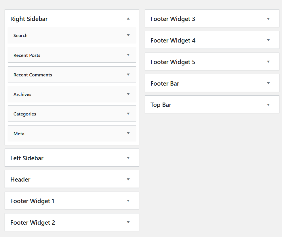 all widget areas