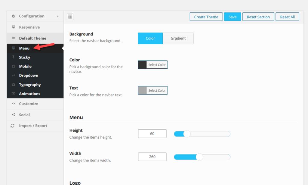 default menu settings