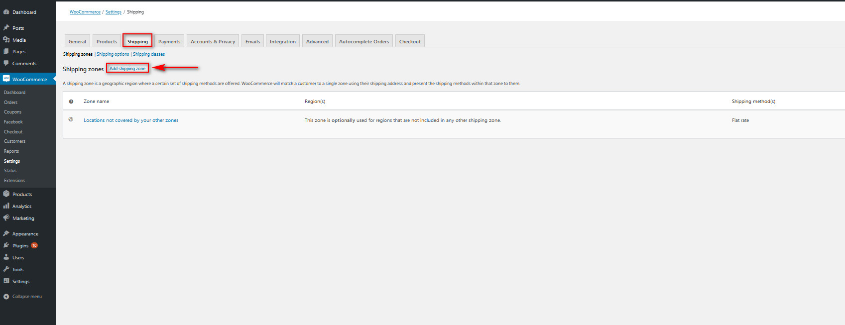enable shipping address in woocommerce - add shipping zone