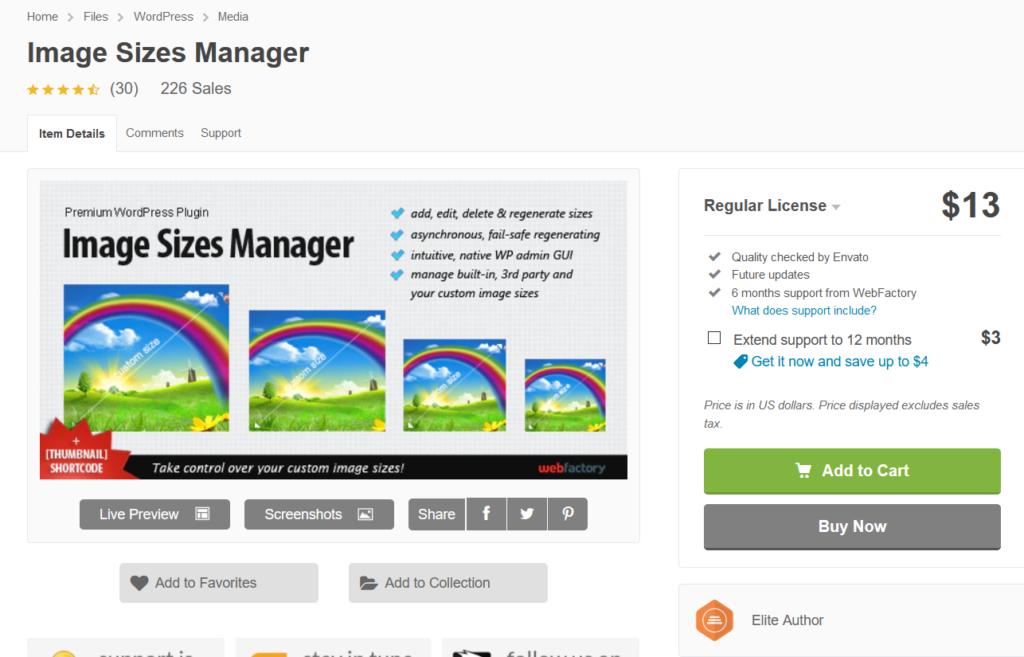 image sizes manager
