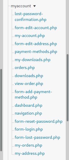 woocommerce my account template files