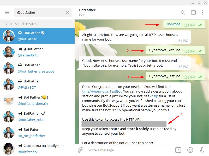 Add Telegram to WordPress - Token