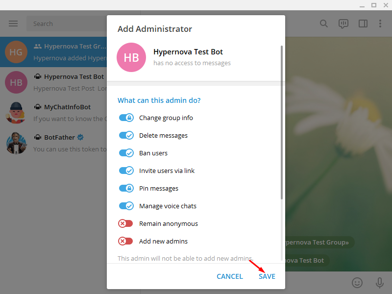 Add Telegram to WordPress - Make Bot the Administrator