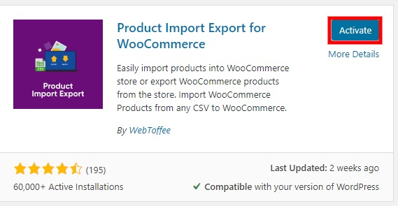 activate plugin export woocommerce products