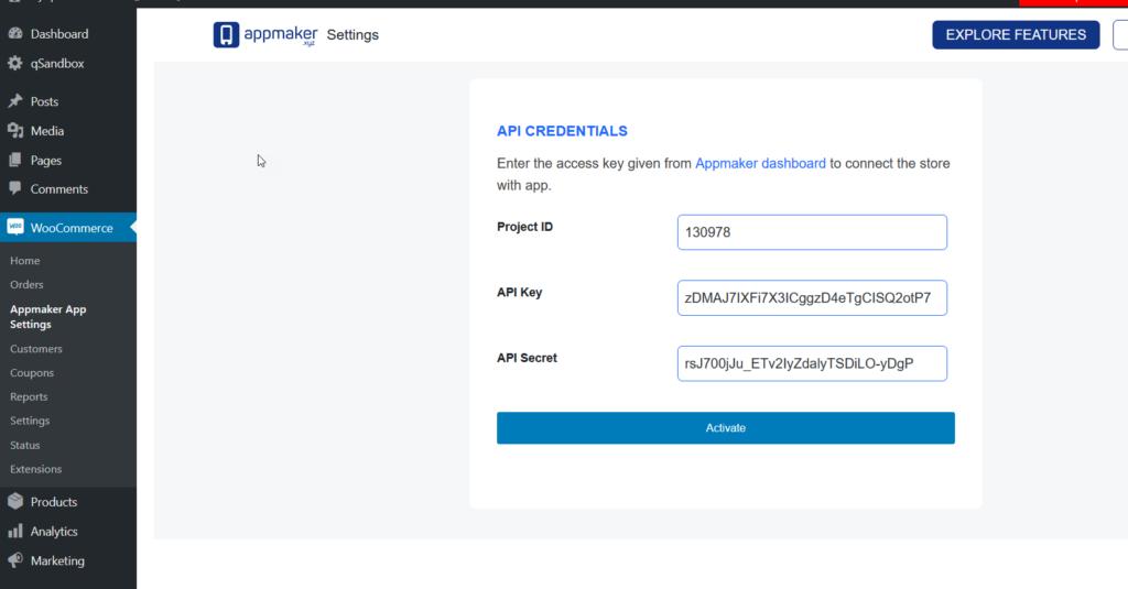 appmaker api credentials