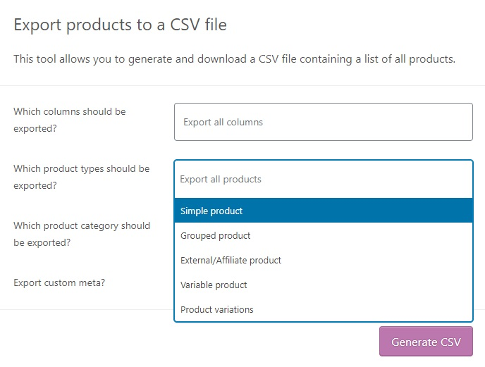 dropdown product type export woocommerce products