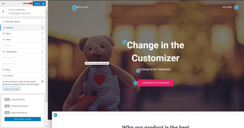 edit wordpress home page - publish