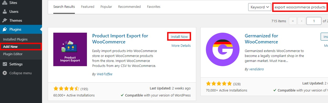 install now export woocommerce products