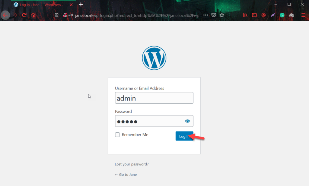 install wordpress locally - log in wordpress