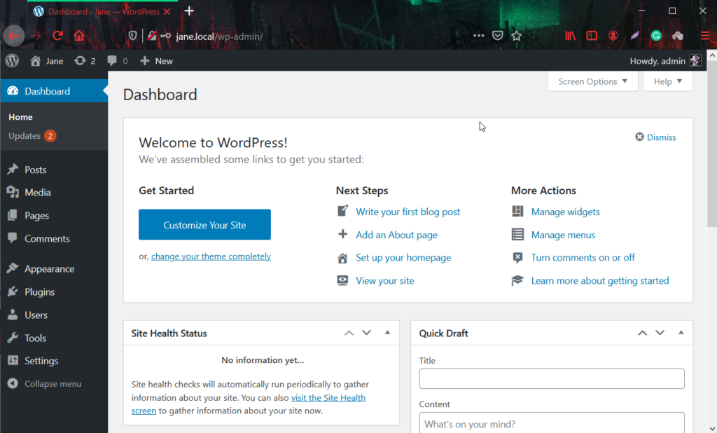 install wordpress locally - site accessed