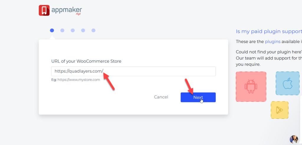 create a woocommerce mobile app - create app using store URL