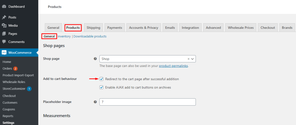 Enable redirect to cart page in woocommerce