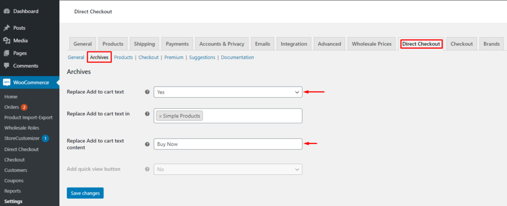 How to Skip the Cart Page in WooCommerce - Replace add to cart text