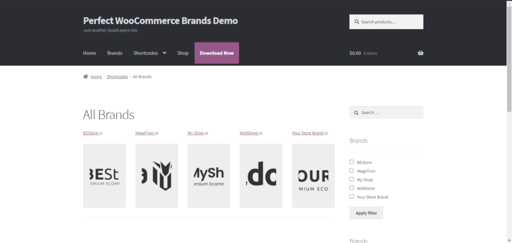 Organize WooCommerce products by brand - Display All Brands
