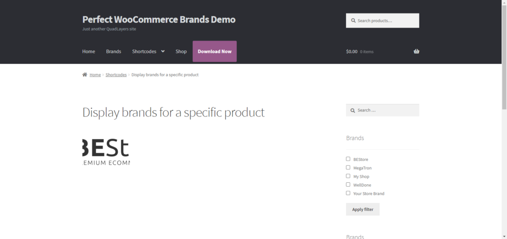 Organize WooCommerce products by brand - Display Brands for a Specific Product