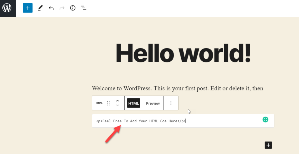add html code
