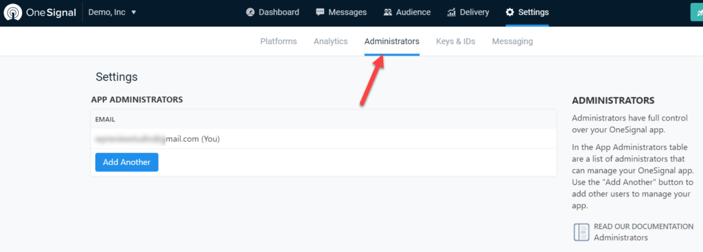 add push notifications to wordpress - administrator