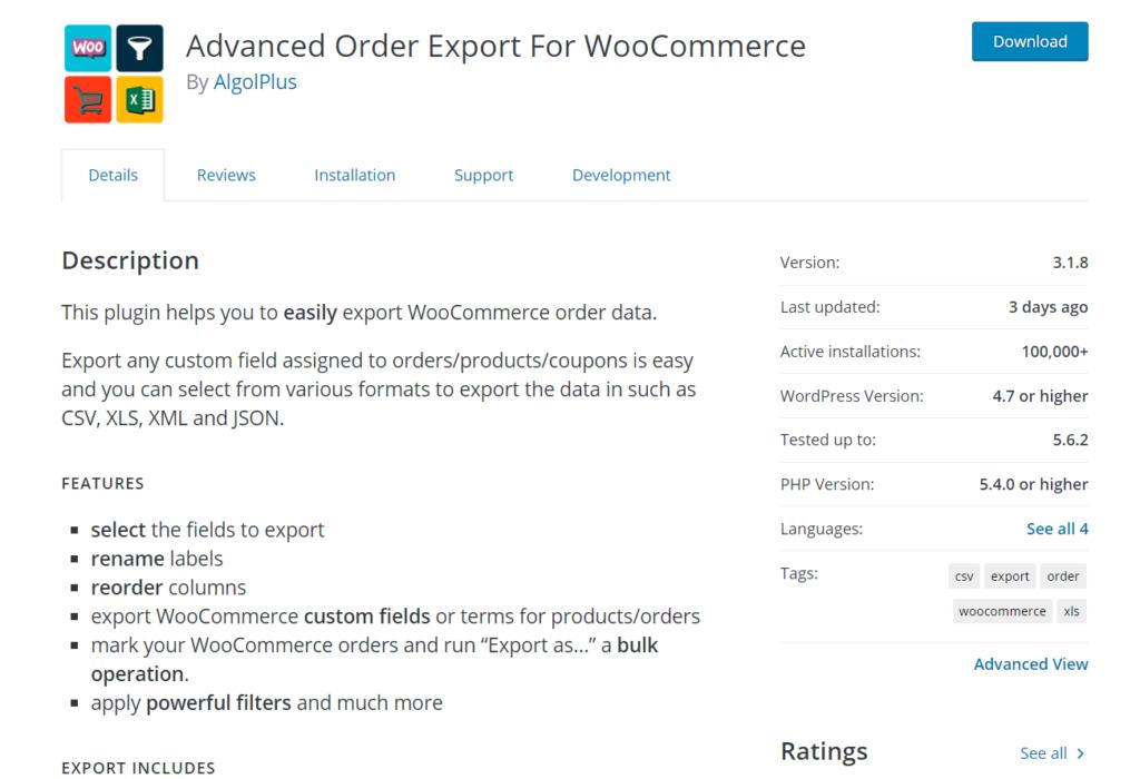 advanced order export