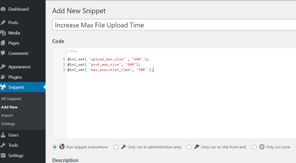 code snippets adding