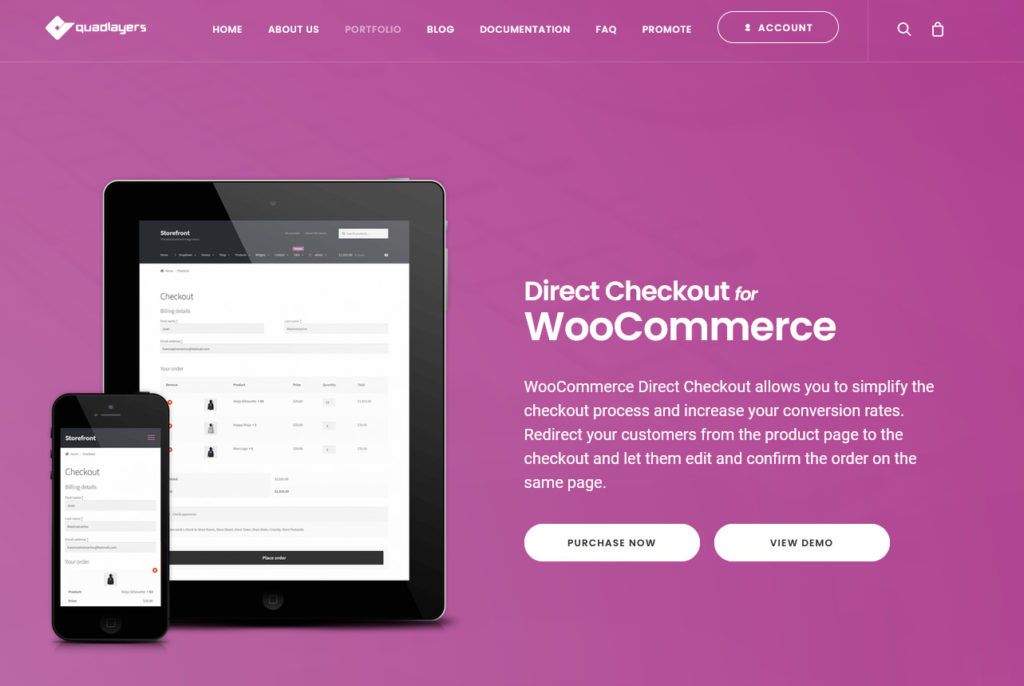 customize woocommerce product page - direct checkout