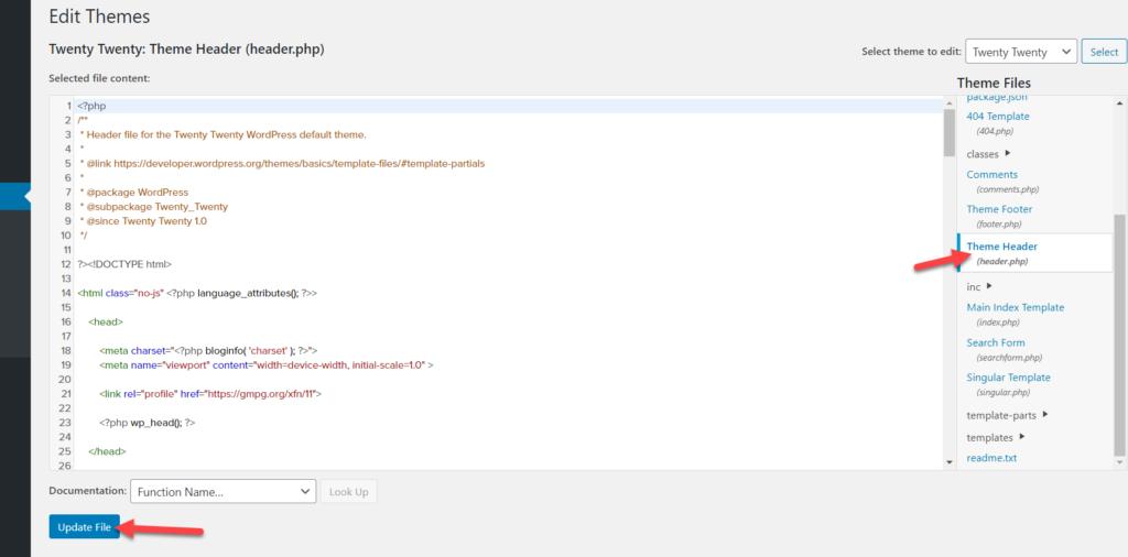 header.php file