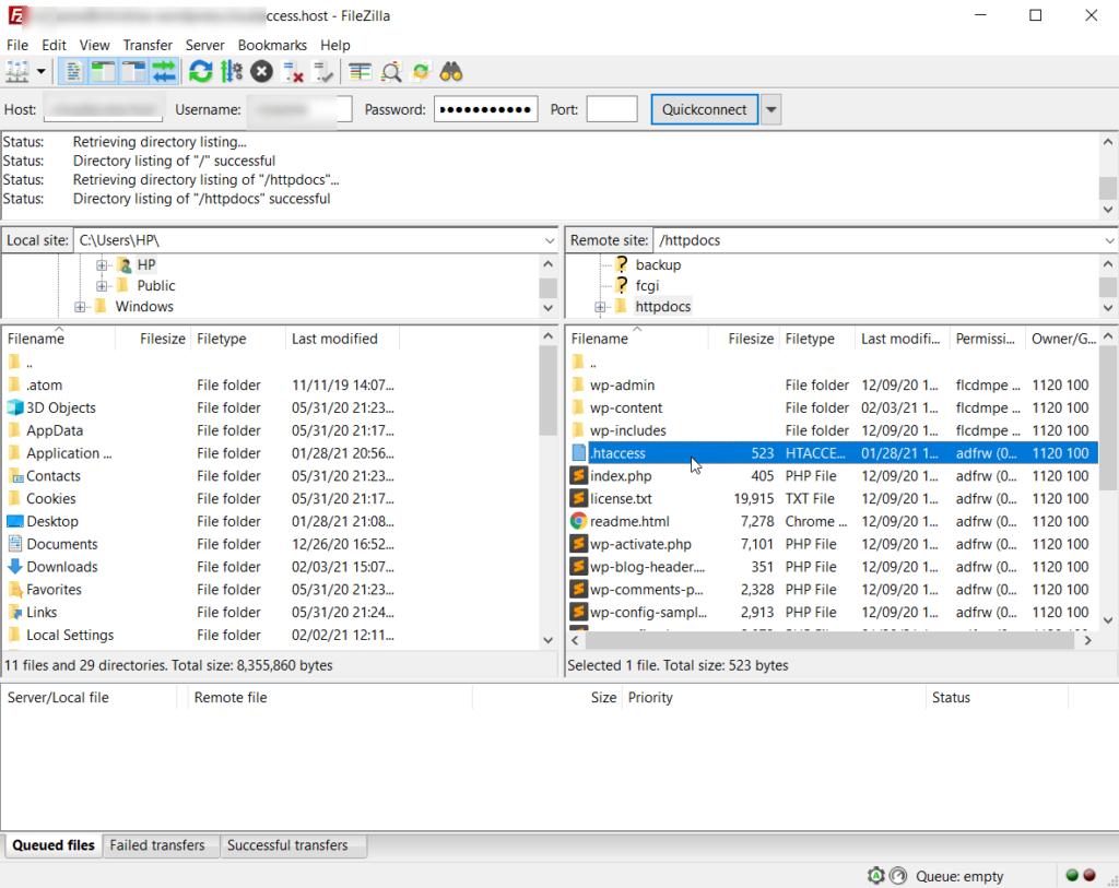 htaccess file