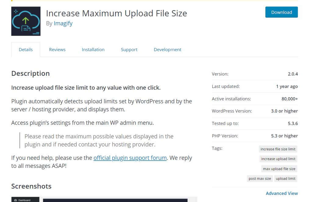increase the maximum upload file size in wordpress - plugin
