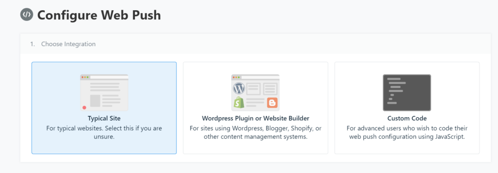 add push notifications to wordpress integration types