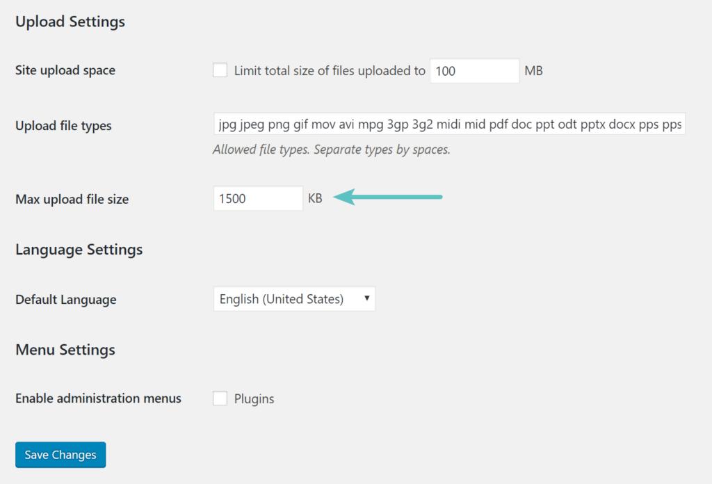 max upload file size