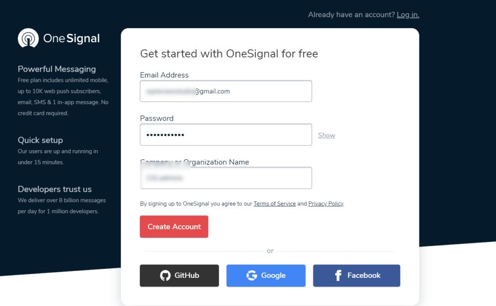 create onesignal account