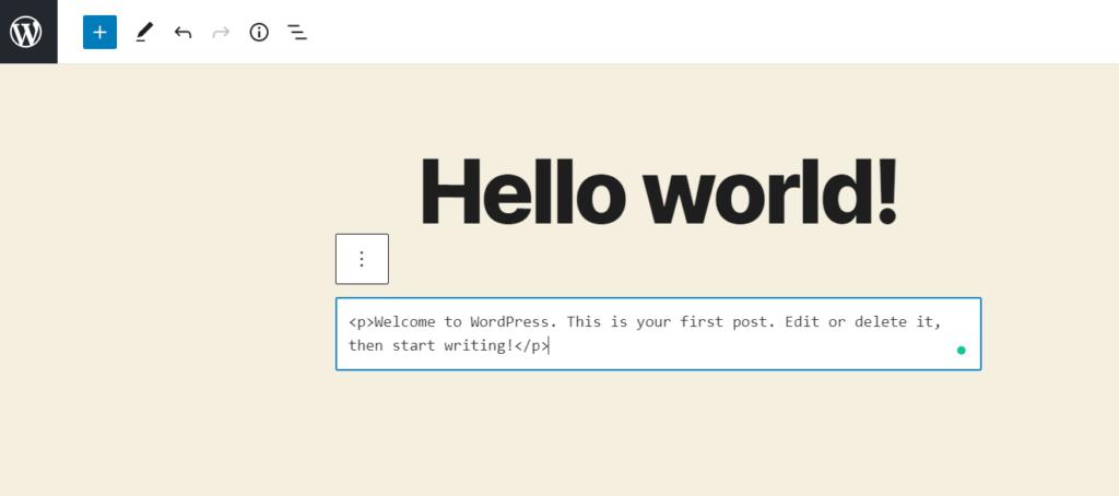 edit html in wordpress - html paragraph